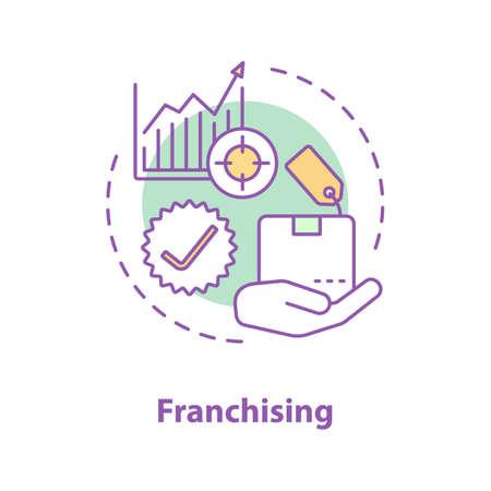 Franchising concept icon. Merchandise idea thin line illustration.