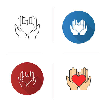 Charity icon. Flat design, linear and color styles.