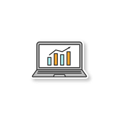 Statistics patch. Laptop display with market growth chart. Illustration