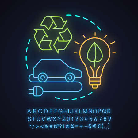 Green technology neon light concept icon.