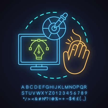 Computer graphic neon light concept icon.