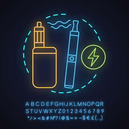 E-cigarettes neon light concept icon.