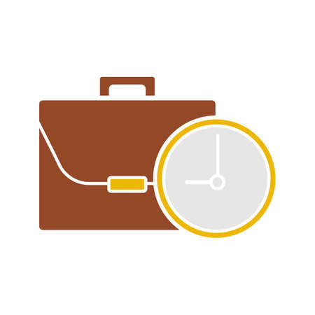 Work time glyph color icon. Business briefcase with clock.