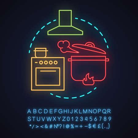 Cafe neon light concept icon. Food preparation idea.