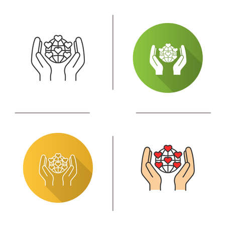 International charity icon. Flat design, linear and color styles.