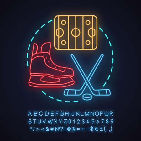 Ice hockey neon light concept icon. Team sport.