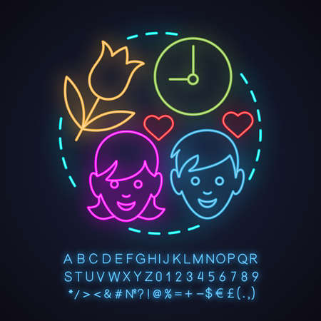 Dating agency neon light concept icon. First date idea. Illustration