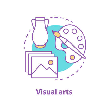Visual art concept icon. Painting and photography idea thin line illustration. Vettoriali