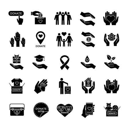 Conjunto de iconos de glifo de caridad.