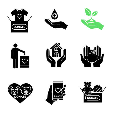 Charity glyph icons set. Silhouette symbols. 向量圖像