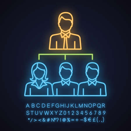 Leadership neon light icon. Boss. Teamwork. Professional hierarchy. Personnel, staff. Glowing sign with alphabet, numbers and symbols. Vector isolated illustration