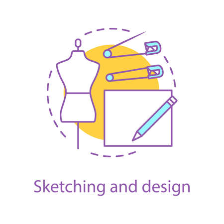 Clothes design sketches concept icon. Dressmaking idea thin line illustration. Sewing. Tailoring workshop. Vector isolated outline drawing