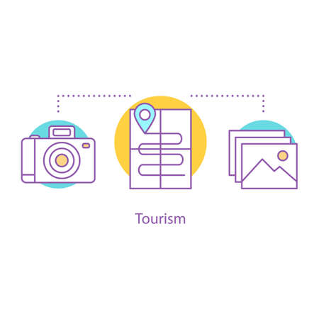 Tourism concept icon. Travel photography idea thin line illustration. Vacation. Vector isolated outline drawing Ilustração
