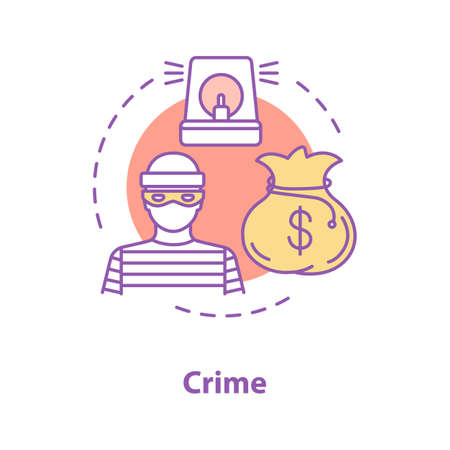 Crime concept icon. Offender, burglar idea thin line illustration. Robbery. Vector isolated outline drawing
