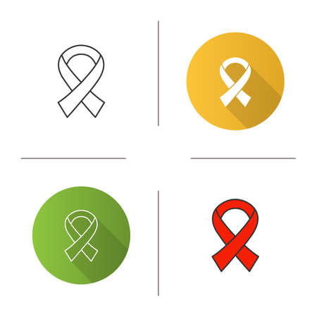 Anti HIV ribbon icon. Fighting against AIDS. Flat design, linear and color styles. World AIDS day. Isolated vector illustrations