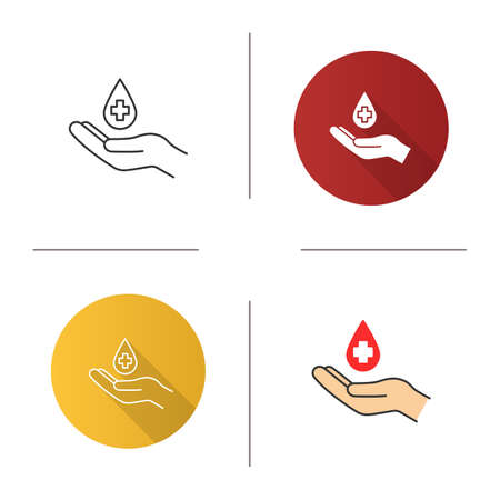 Blood donation icon. Flat design, linear and color styles. Hand holding liquid drop with medical cross. Isolated vector illustrations