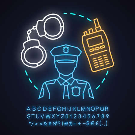 Police force neon light concept icon. Law enforcement idea. Policeman, walkie talkie, handcuffs. Glowing sign with alphabet, numbers and symbols. Vector isolated illustration Illustration