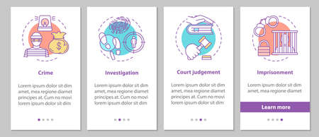 Law enforcement onboarding mobile app page screen with linear concepts. Crime, investigation, court judgement, imprisonment steps graphic instructions. UX, UI, GUI vector template with illustrations