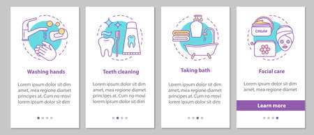 Hygiene onboarding mobile app page screen with linear concepts. Washing hands, teeth cleaning, taking bath, facial care steps graphic instructions. UX, UI, GUI vector template with illustrations