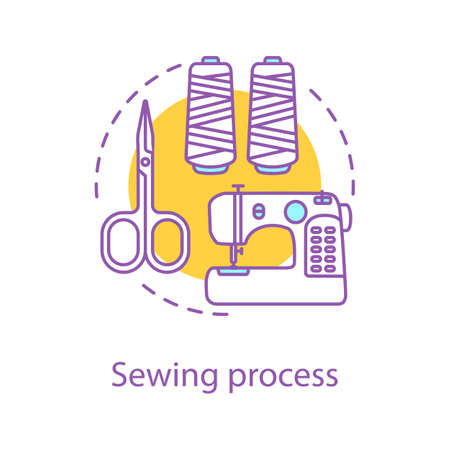 Sewing process concept icon. Tailoring idea thin line illustration. Needlecraft. Dressmaking. Sewing machine, scissors, thread. Vector isolated outline drawing Stock Illustratie