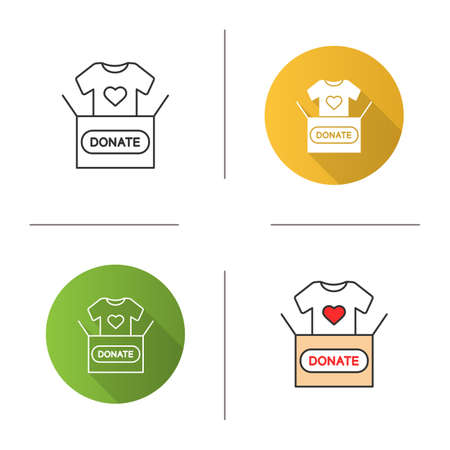Clothes donating icon. Flat design, linear and color styles. Donation box with t-shirt. Used clothes. Isolated vector illustrations