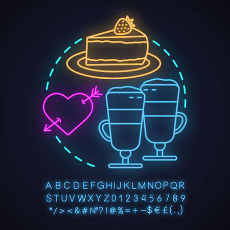Cafe neon light concept icon. First date idea. Coffee house. Latte macchiato and cheesecake. Glowing sign with alphabet, numbers and symbols. Vector isolated illustration