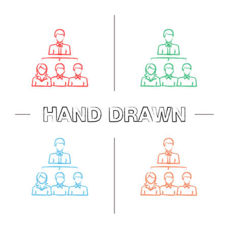 Leadership hand drawn icons set. Boss. Teamwork. Professional hierarchy. Personnel, staff. Color brush stroke. Isolated vector sketchy illustrations