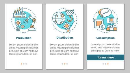 Pantalla de página de aplicación móvil de incorporación del sector industrial con concepto lineal. Fabricación. Instrucciones gráficas de pasos de producción, distribución, consumo. UX, UI, plantilla de vector de GUI con ilustraciones