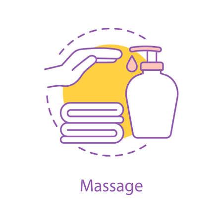Icône de concept de massage. Illustration de fine ligne idée de salon de spa. Accessoires de bain. Lavage des mains. Dessin de contour isolé de vecteur