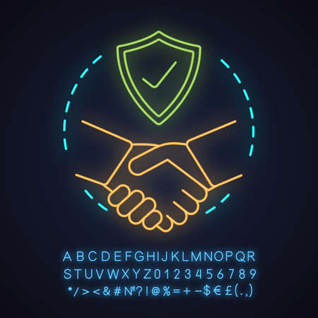 Partnership neon light concept icon. Business deal idea. Trust. Agreement. Glowing sign with alphabet, numbers and symbols. Vector isolated illustration