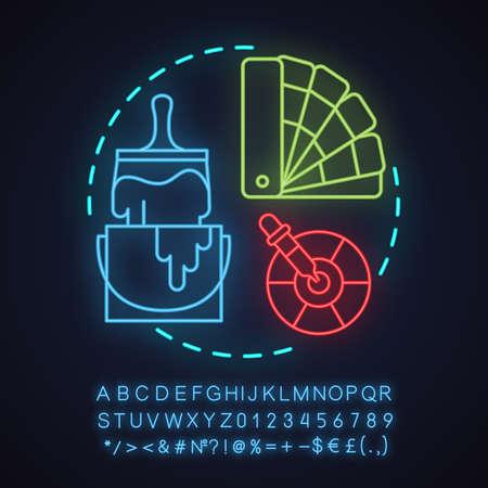 Icono de concepto de luz de neón de pintura y decoración. Idea de diseño de interiores. Renovación. Signo brillante con alfabeto, números y símbolos. Vector ilustración aislada