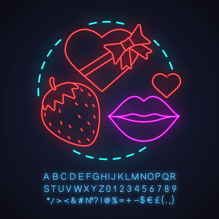 Sex shop neon light concept icon. Passion idea. Romantic intimate relationships. Chocolate sweets, kiss, strawberry. Glowing sign with alphabet, numbers and symbols. Vector isolated illustration