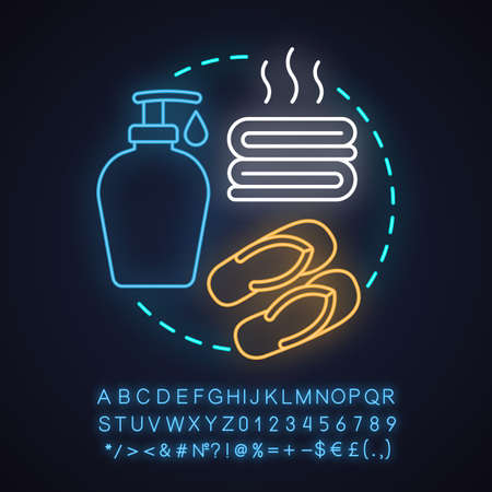 Spa salon neon light concept icon. Body care idea. Bath taking accessories. Towels, soap, slippers. Glowing sign with alphabet, numbers and symbols. Vector isolated illustration Illustration