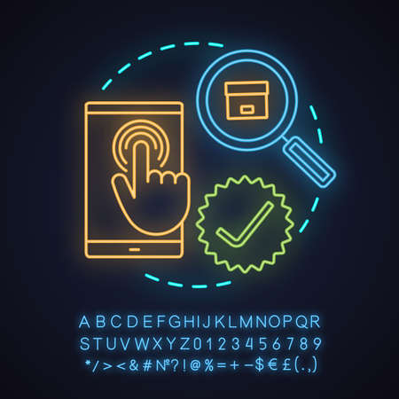 Parcel tracking app neon light concept icon. Choosing goods or services idea. Glowing sign with alphabet, numbers and symbols. Vector isolated illustration