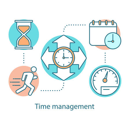 Time management concept icon. Efficiency idea thin line illustration. Effectiveness increasing. Productivity. Time controlling. Vector isolated outline drawing