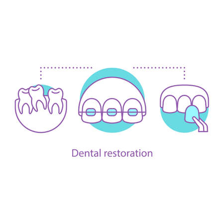 Dental restoration concept icon. Stomatology idea thin line illustration. Dentistry. Teeth aligning. Veneers, braces. Vector isolated outline drawing