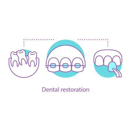 Tandheelkundige restauratie concept pictogram. Stomatologie idee dunne lijn illustratie. Tandheelkunde. Tanden uitlijnen. Veneers, beugels. Vector geïsoleerde overzichtstekening Vector Illustratie