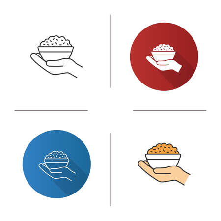 Food donation icon. Flat design, linear and color styles. Open hand with rice bowl. Chinese fried rice for free. Isolated vector illustrations Illustration