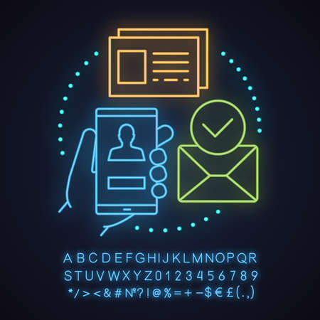 Account creating neon light concept icon. New user registration idea. Authorization. Homepage. Glowing sign with alphabet, numbers and symbols. Vector isolated illustration Illustration