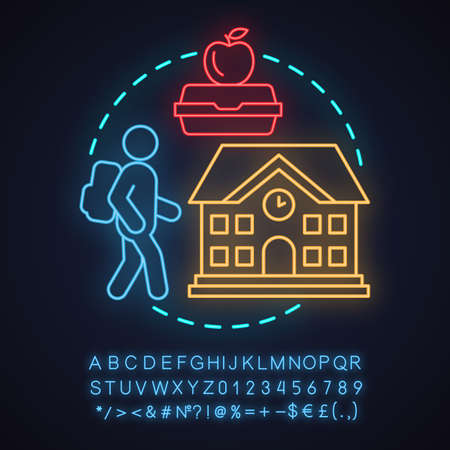 School neon light concept icon. Education idea. Student, lunchbox, school building. Glowing sign with alphabet, numbers and symbols. Vector isolated illustration