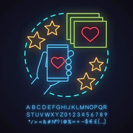 Smartphone dating app neon light concept icon. Chatting idea. Romantic invitation. Glowing sign with alphabet, numbers and symbols. Vector isolated illustration