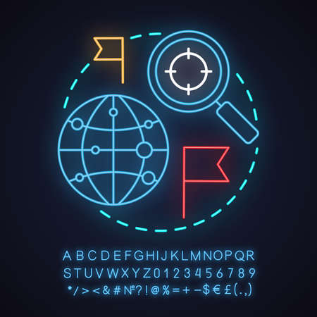 Travel guide neon light concept icon. Choosing travel destination idea. International route searching. Glowing sign with alphabet, numbers and symbols. Vector isolated illustration