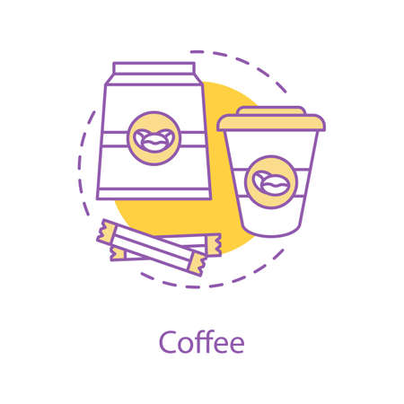 Coffee house concept icon. Coffee beans package, sugar, disposable paper cup. Cafe idea thin line illustration. Hot drink. Vector isolated outline drawing