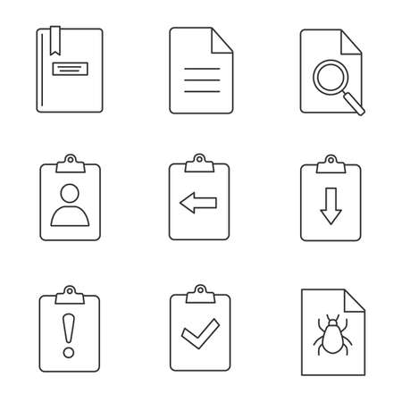 UI/UX linear icons set. Assignment late, turned in, bug report, notepad, file, find in page, clipboard with left and right arrows, cv. Thin line contour symbols. Isolated vector outline illustrations