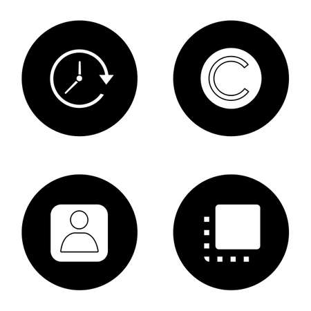 UI/UX glyph icons set. Update, copyright, user account, flip to front button. Vector white silhouettes illustrations in black circles
