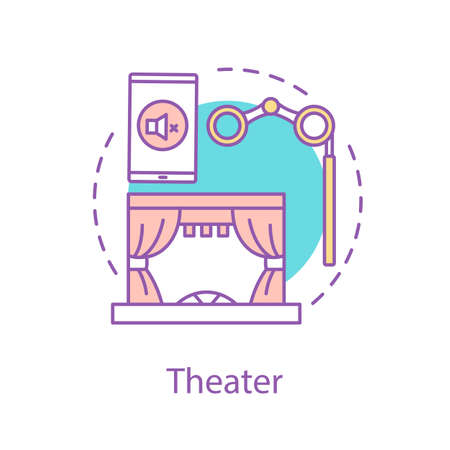 Theater concept icon. Entertainment idea thin line illustration. Cinema. Vector isolated outline drawing
