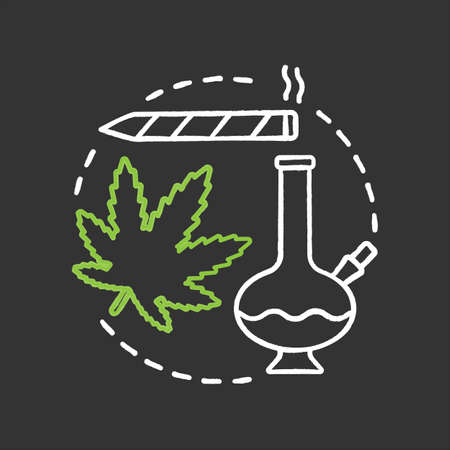Marijuana culture chalk concept icon. Cannabis, ganja idea. Marijuana leaf, bong, pot. Vector isolated chalkboard illustration Ilustração