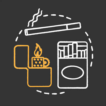 Tobacco smoking chalk concept icon. Bad habit idea. Cigarettes and flip lighter. Vector isolated chalkboard illustration Çizim