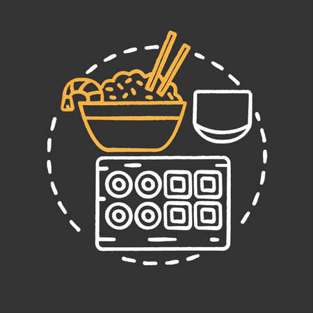 Sushi bar chalk concept icon. Japanese and Chinese cuisine. Fried rice with shrimp, sushi. Restaurant. Wok cafe idea. Vector isolated chalkboard illustration Illustration