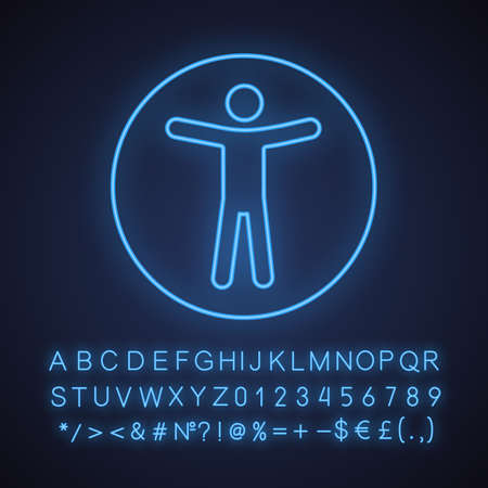 Web accessibility neon light icon. Universal access. Glowing sign with alphabet, numbers and symbols. Vector isolated illustration Çizim